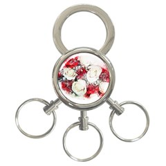 Flowers Roses Bouquet Art Nature 3 Ring Key Chains
