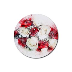 Flowers Roses Bouquet Art Nature Rubber Round Coaster (4 Pack)