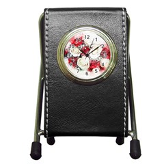 Flowers Roses Bouquet Art Nature Pen Holder Desk Clocks