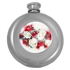 Flowers Roses Bouquet Art Nature Round Hip Flask (5 Oz)
