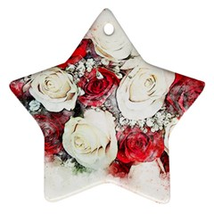 Flowers Roses Bouquet Art Nature Star Ornament (two Sides)