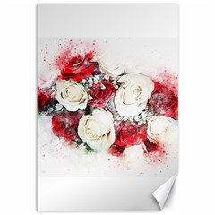 Flowers Roses Bouquet Art Nature Canvas 12  X 18