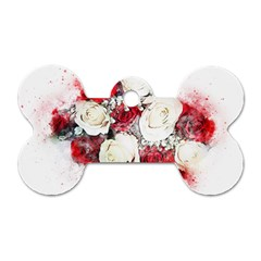 Flowers Roses Bouquet Art Nature Dog Tag Bone (one Side)