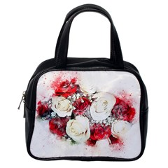 Flowers Roses Bouquet Art Nature Classic Handbags (one Side)