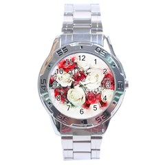 Flowers Roses Bouquet Art Nature Stainless Steel Analogue Watch