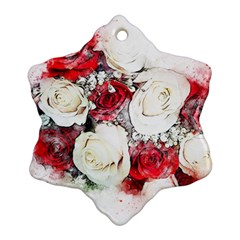 Flowers Roses Bouquet Art Nature Snowflake Ornament (two Sides)