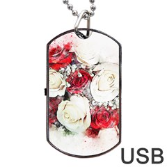 Flowers Roses Bouquet Art Nature Dog Tag Usb Flash (one Side)