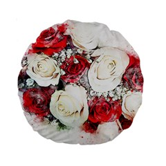 Flowers Roses Bouquet Art Nature Standard 15  Premium Round Cushions