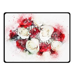 Flowers Roses Bouquet Art Nature Double Sided Fleece Blanket (small)