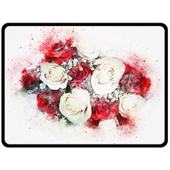 Flowers Roses Bouquet Art Nature Double Sided Fleece Blanket (large)