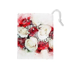 Flowers Roses Bouquet Art Nature Drawstring Pouches (medium)