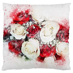 Flowers Roses Bouquet Art Nature Large Flano Cushion Case (two Sides)