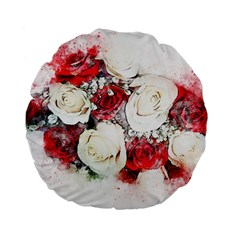 Flowers Roses Bouquet Art Nature Standard 15  Premium Flano Round Cushions by Nexatart