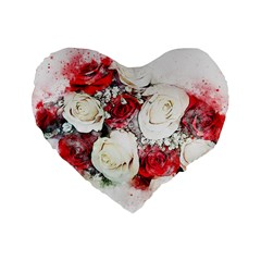 Flowers Roses Bouquet Art Nature Standard 16  Premium Flano Heart Shape Cushions