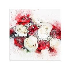 Flowers Roses Bouquet Art Nature Small Satin Scarf (square)