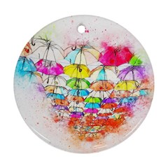 Umbrella Art Abstract Watercolor Ornament (round)