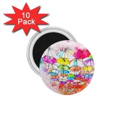 Umbrella Art Abstract Watercolor 1 75  Magnets (10 Pack)