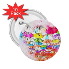 Umbrella Art Abstract Watercolor 2 25  Buttons (10 Pack)