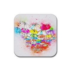 Umbrella Art Abstract Watercolor Rubber Square Coaster (4 Pack)