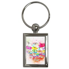 Umbrella Art Abstract Watercolor Key Chains (rectangle)