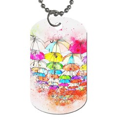 Umbrella Art Abstract Watercolor Dog Tag (one Side)