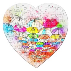 Umbrella Art Abstract Watercolor Jigsaw Puzzle (heart)