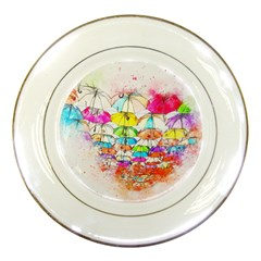 Umbrella Art Abstract Watercolor Porcelain Plates