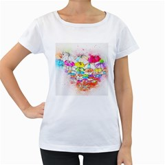 Umbrella Art Abstract Watercolor Women s Loose Fit T Shirt (white)