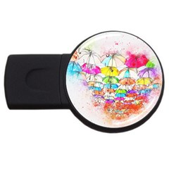 Umbrella Art Abstract Watercolor Usb Flash Drive Round (4 Gb)