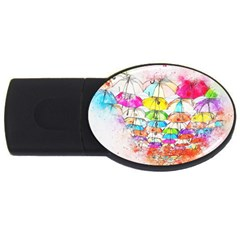 Umbrella Art Abstract Watercolor Usb Flash Drive Oval (4 Gb)
