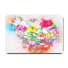 Umbrella Art Abstract Watercolor Small Doormat