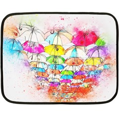 Umbrella Art Abstract Watercolor Fleece Blanket (mini)