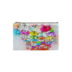 Umbrella Art Abstract Watercolor Cosmetic Bag (small)