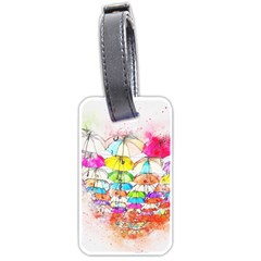 Umbrella Art Abstract Watercolor Luggage Tags (one Side)