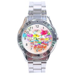 Umbrella Art Abstract Watercolor Stainless Steel Analogue Watch