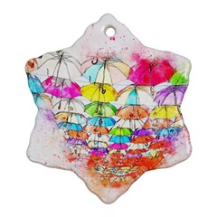 Umbrella Art Abstract Watercolor Snowflake Ornament (two Sides)