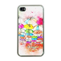 Umbrella Art Abstract Watercolor Apple Iphone 4 Case (clear)