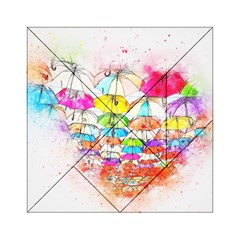 Umbrella Art Abstract Watercolor Acrylic Tangram Puzzle (6  X 6 )
