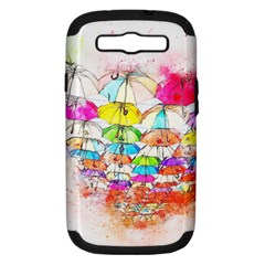 Umbrella Art Abstract Watercolor Samsung Galaxy S Iii Hardshell Case (pc+silicone)