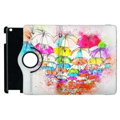 Umbrella Art Abstract Watercolor Apple Ipad 2 Flip 360 Case
