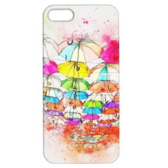 Umbrella Art Abstract Watercolor Apple Iphone 5 Hardshell Case With Stand