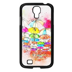 Umbrella Art Abstract Watercolor Samsung Galaxy S4 I9500/ I9505 Case (black)