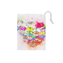Umbrella Art Abstract Watercolor Drawstring Pouches (small)  by Nexatart