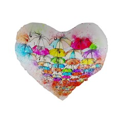 Umbrella Art Abstract Watercolor Standard 16  Premium Flano Heart Shape Cushions by Nexatart