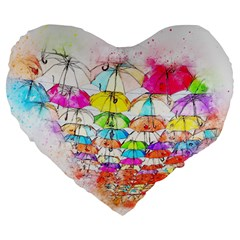 Umbrella Art Abstract Watercolor Large 19  Premium Flano Heart Shape Cushions