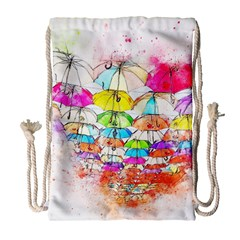 Umbrella Art Abstract Watercolor Drawstring Bag (large)