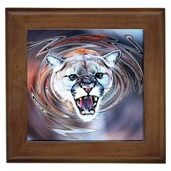 Cougar Animal Art Swirl Decorative Framed Tiles