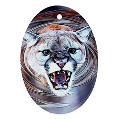 Cougar Animal Art Swirl Decorative Ornament (oval) by Nexatart