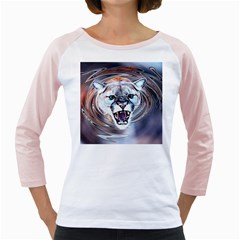 Cougar Animal Art Swirl Decorative Girly Raglans