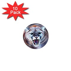 Cougar Animal Art Swirl Decorative 1  Mini Magnet (10 Pack)  by Nexatart